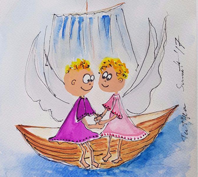 """Illustrationen - 365 Engel - """"Ausflug auf den See"""" - ein Designerstück von Kunst-Punkt bei DaWanda"""