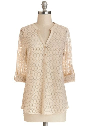 Darling Day Off Top - Better, White, 3/4 Sleeve, Sheer, Faux Leather, Knit, Mid-length, Spring, Cream, Solid, Buttons, 3/4 Sleeve