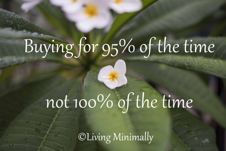 Buying for 95% of time, not 100%. Living Minimally
