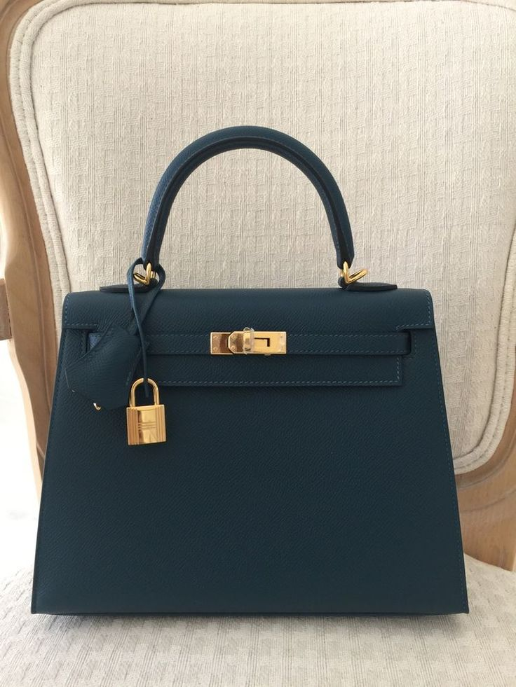 Hermes Kelly Bag 25cm 25 Blue Colvert Epsom Sellier BNIB eBoutique Has