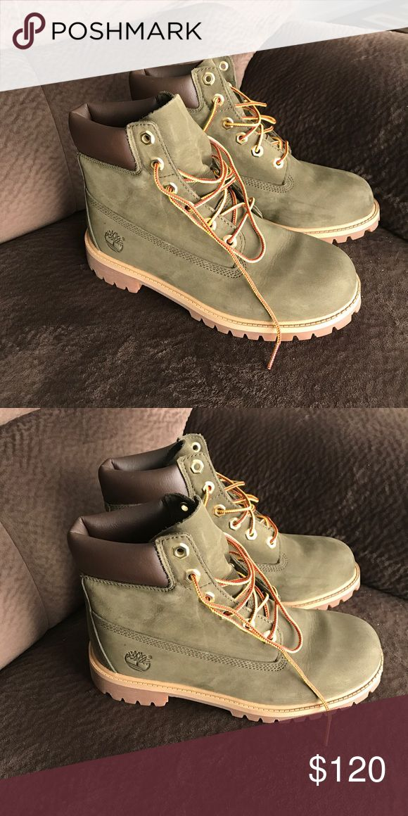 "Timberland 6"" Premium Wat Timberland 6"" Premium Wat Size 5 in boys/ 7.5 in women.  They're olive green and waterproof. New, Contact me for more information. (541)730-8524 Timberland Shoes Winter & Rain Boots"