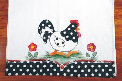 CLICKFIOS.com - A um click da sua Arte: PANO DE COPA GALINHA - PATCHWORK