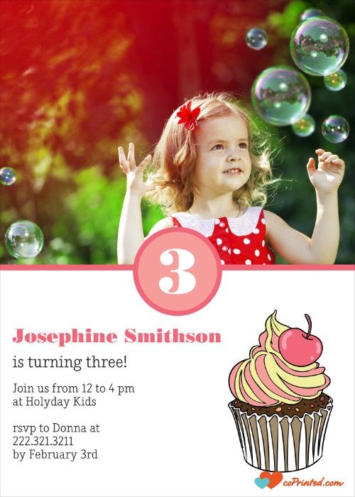 Printable Birthday Invitation. cupcake birthday invitation. Customize online and download instantly. 3 USD/ month - unlimited downloads coprinted.com