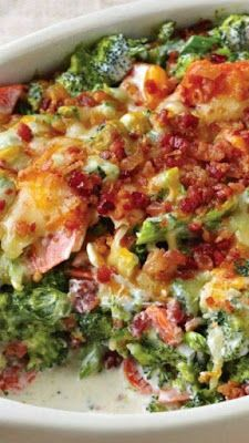 CREAMY BROCCOLI BACON BAKE ~ good recipes