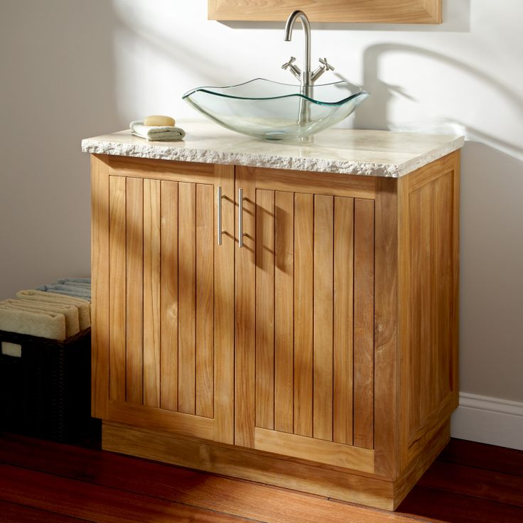 Crown the Montara Teak Vanity with a statement making vessel sink  Boasting  casual elegance  this vanity offers ample storage and durability thanks to  its. 31 best Vanity Cabinets images on Pinterest   Sinks  Bathroom