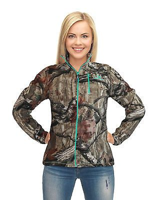 Womens Mossy Oak Jacket Micro Fleece Camo Zip Up with Turquoise Accent – Camo Chique