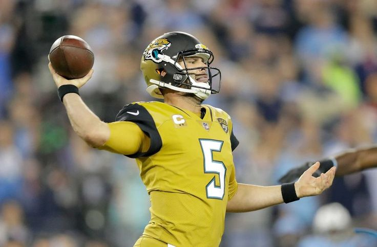 Thursday Night Football: Jaguars vs. Titans:    October 27, 2016  -  36-22, Titans   -    Blake Bortles #5 of the Jacksonville Jaguars passes the ball during the second quarter of a game against the Tennessee Titans at Nissan Stadium on Oct. 27, 2016 in Nashville.