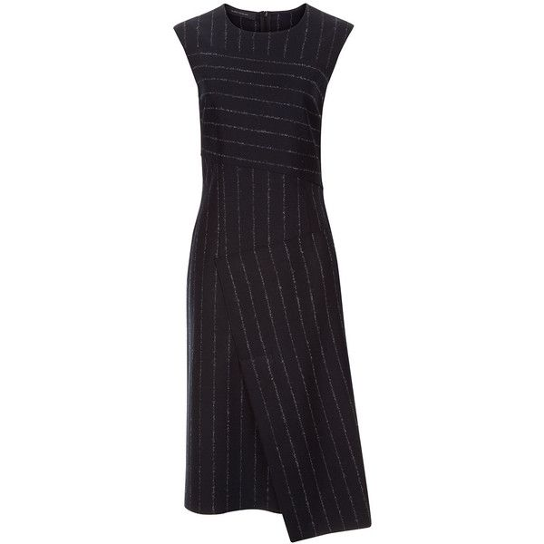 Cedric Charlier Black Wool Pinstripe Sleeveless Dress ($690) ❤ liked on Polyvore featuring dresses, patchwork dress, pinstripe dress, scoop neckline dress, asymmetrical dress and sleeveless dress