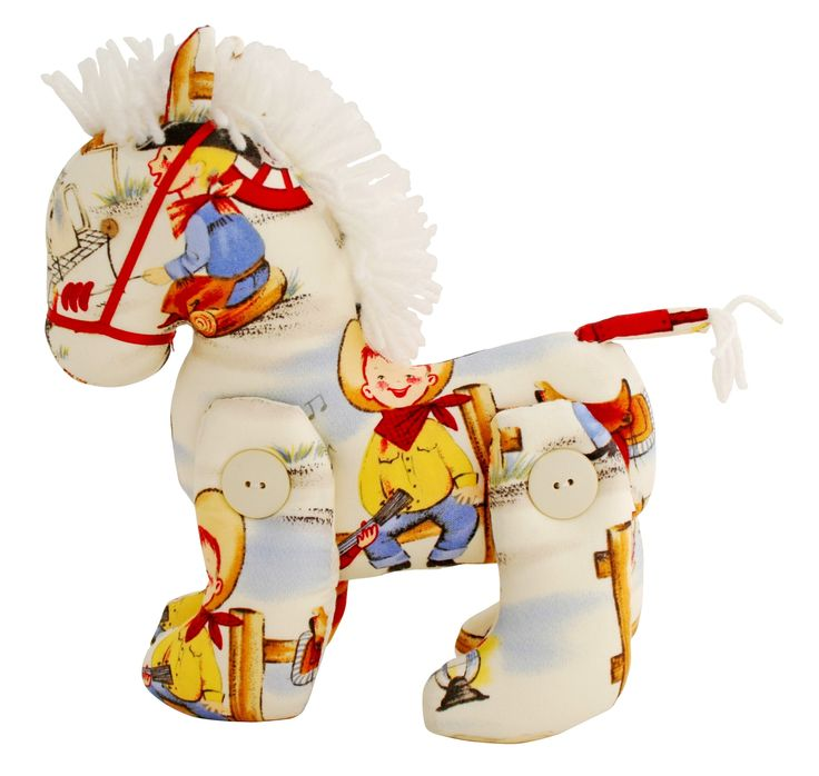 Alimrose Jointed Toy Pony - Cream Cowboy Print $34.95 This Jointed Toy Pony from Alimrose Designs is a beautiful decorative toy for any little girls or boys nursery with gorgeous fabric and a fluffy mane. Measures aprx 22cm tall & 18cm long