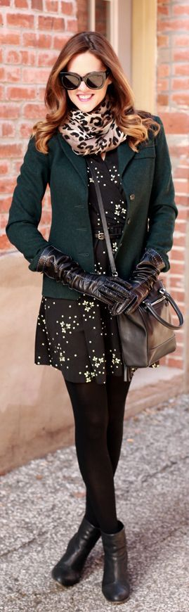I love this outfit! Love the mix of texture- classic pieces that look current and layering for different temps. Great fall dress that could be dressed up or down!