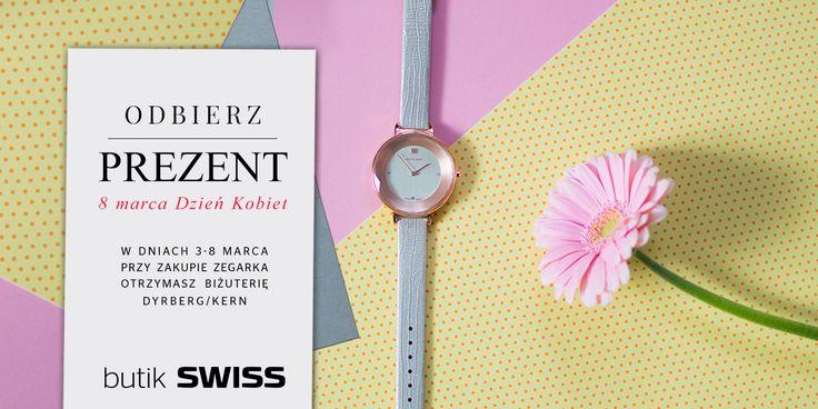 Z okazji dnia Kobiet w dniach 3-8 marca przy zakupie zegarka otrzymasz wyjątkową biżuterię Dyrberg/Kern w PREZENCIE. Spotkajmy się w butiku SWISS.