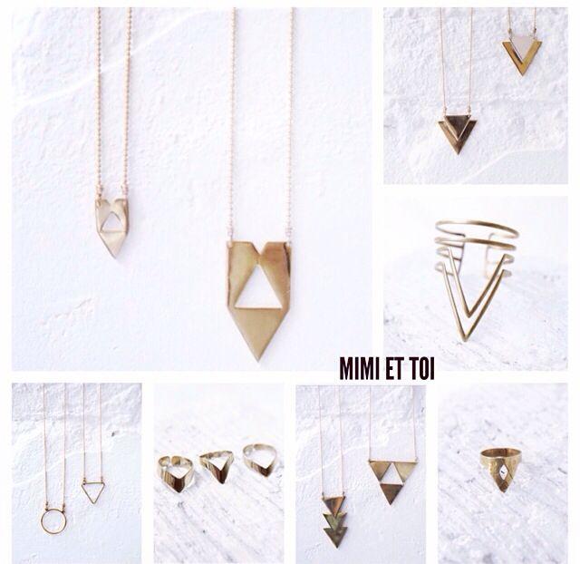 Triangle Cuff & Triangle Necklaces & Triangle rings @ Mimi et Toi