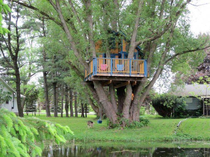 #Garten Baumhaus für Kinder: 100 Ideen, die Spaß und Abenteuer versprechen #Ba…