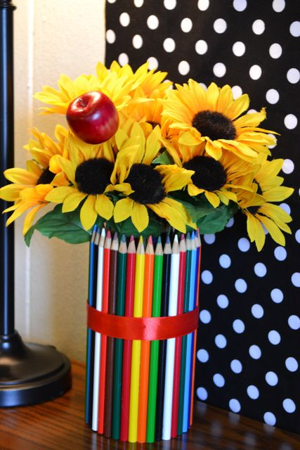 Love this idea for a back to school party! #backtoschool #party #vase