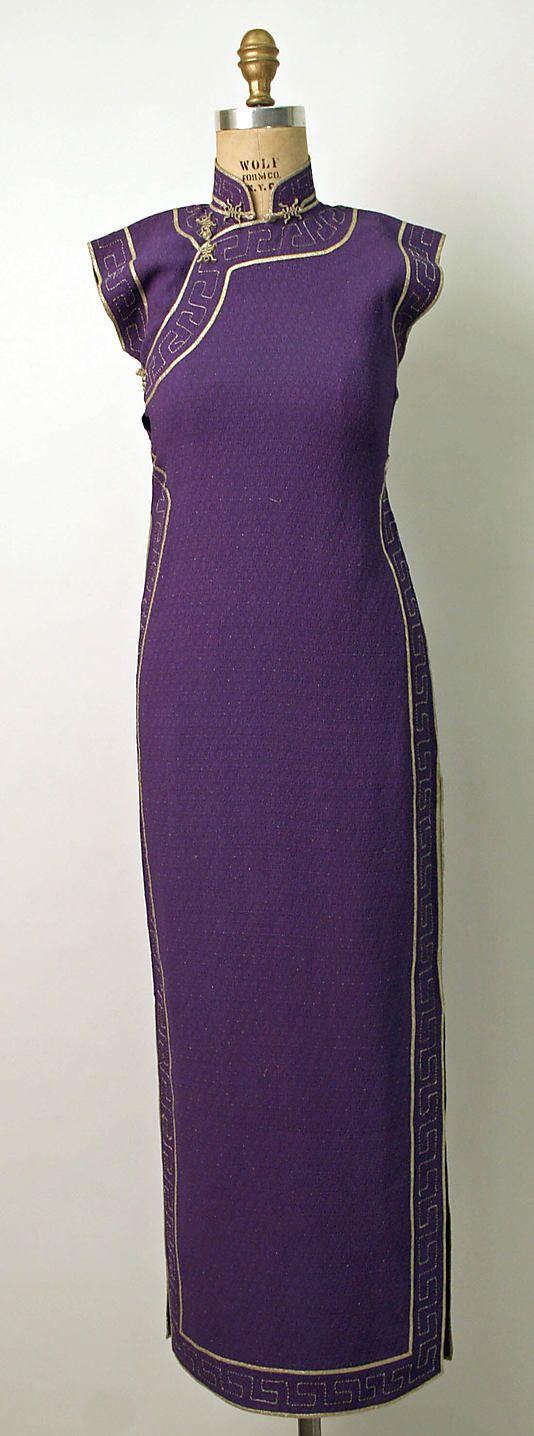 Cheongsam Date: 1930s Culture: Chinese Medium: silk, metal Dimensions: Length: 54 in. (137.2 cm)