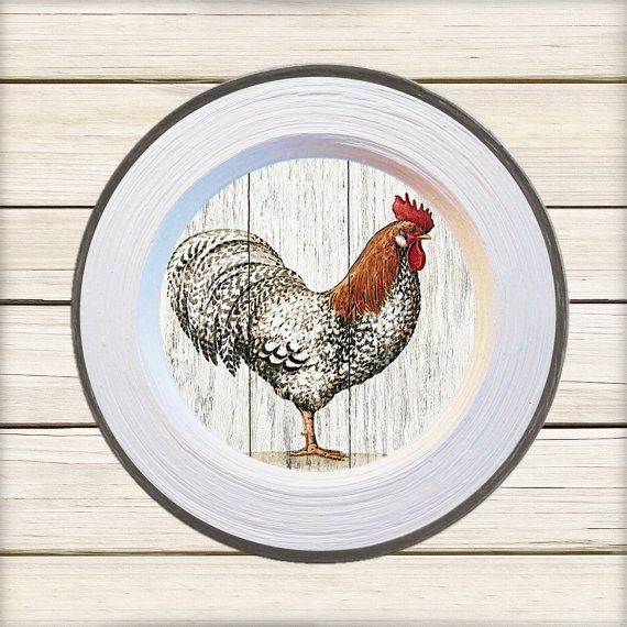 """Wall decor 4 plates set """"Roosters"""" - home decor, vintage, art, recycled paper, acrylic paint, lacquer, ceramic"""