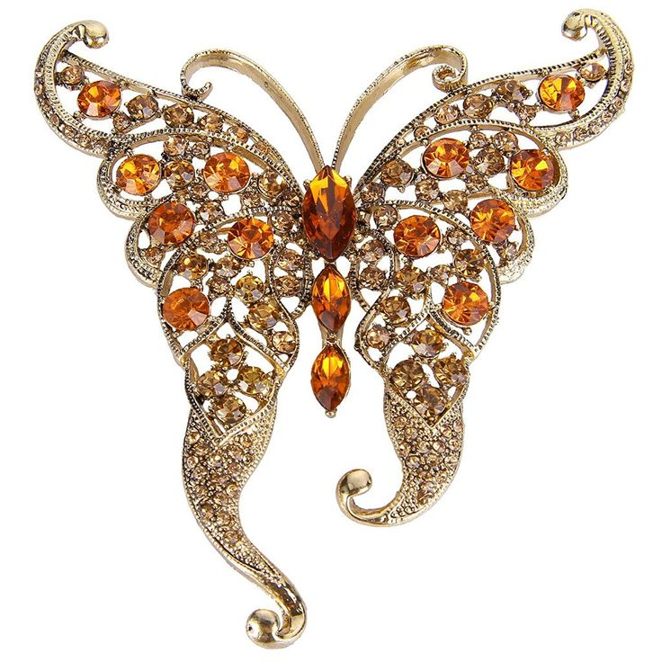 EVER FAITH® Gold-Tone Austrian Crystal Butterfly with Long Wing Brooch Brown Topaz Color A02265-38