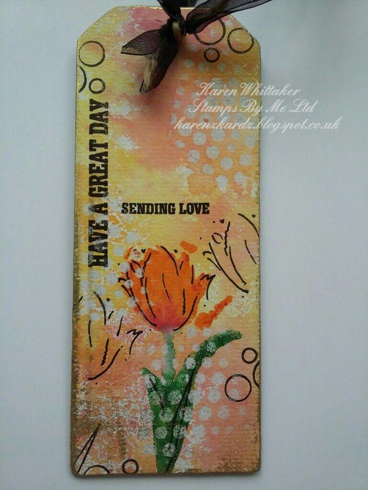 Stamps By Me Sending Love stamp set #stampsbyme #sendinglove #mdf #tag #distressinks #kuretakezig #gildingwax #flowers #stamping #stamps #handmade #craft #creative