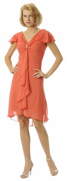 Coral Cocktail Dress Cap Sleeve Chiffon Cheap Coral Short Above Knee $34.99