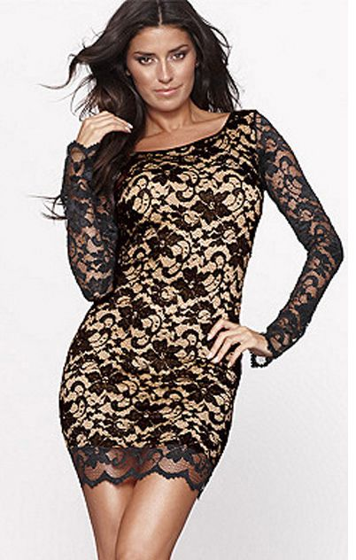 Black Long Sleeve Beading Backless Lace Dress