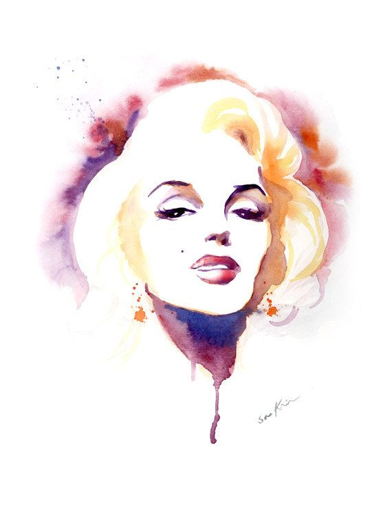 Marilyn Monroe - Watercolor Art Print  || This image first pinned to Marilyn Monroe Art board, here: http://pinterest.com/fairbanksgrafix/marilyn-monroe-art/ ||