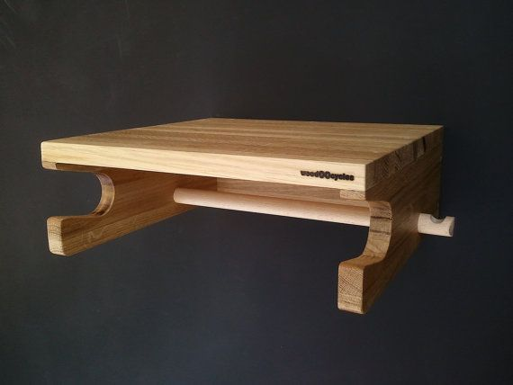Levit-1 oak wood wall bicycle stand by WoodOOcycles on Etsy