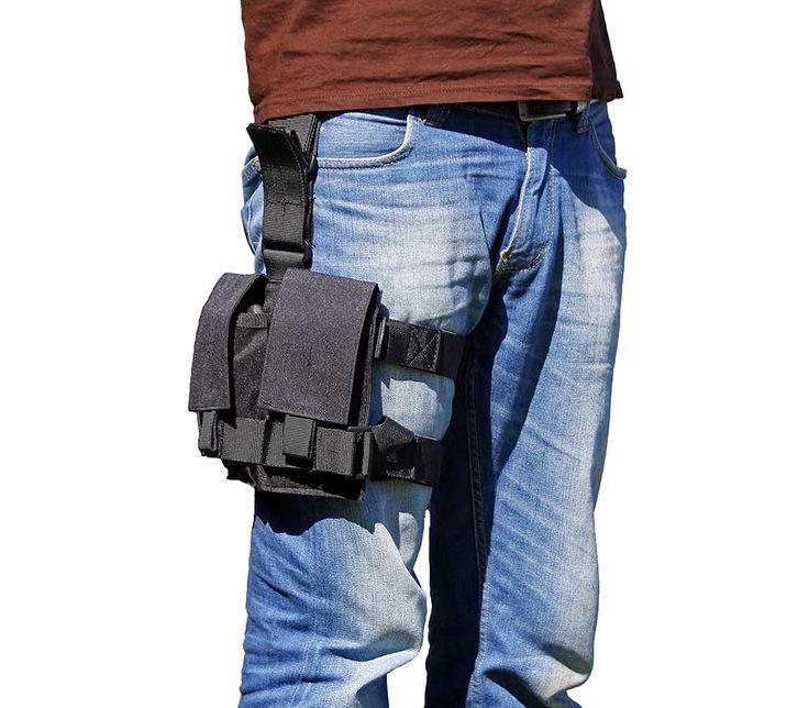Bolsa de pierna de doble bolsillo. Sujeción al cinturón ajustable y desmontable. Dos correas de pierna elásticas, ajustables y desmontables. Cierres de velcro de calidad.