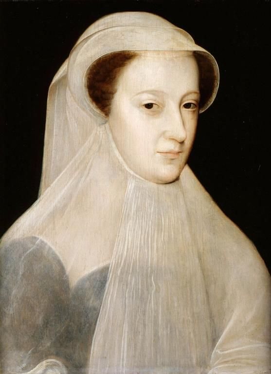 François Clouet, Mary, Queen of Scots, 1560-61. Mary is shown in white mourning (en deuil blanc) to mark the loss of three members of her immediate family within a period of eighteen months.