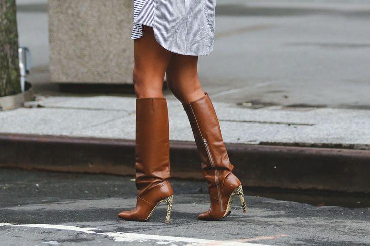 Доказателство високи до коленете ботуши не са само за зимните месеци.  # refinery29 http://www.refinery29.com/2015/09/93849/best-fall-shoes-fashion-week-street-style#slide-23: