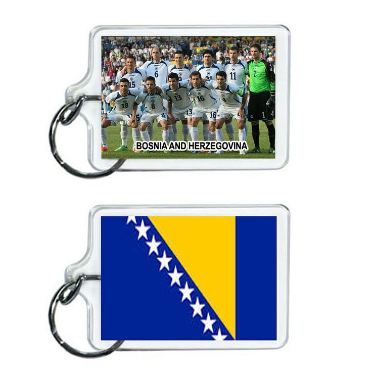 Bosnia Soccer Flag 2014 Team Player Acrylic Keychain 2 x 1 | www.balligifts.com