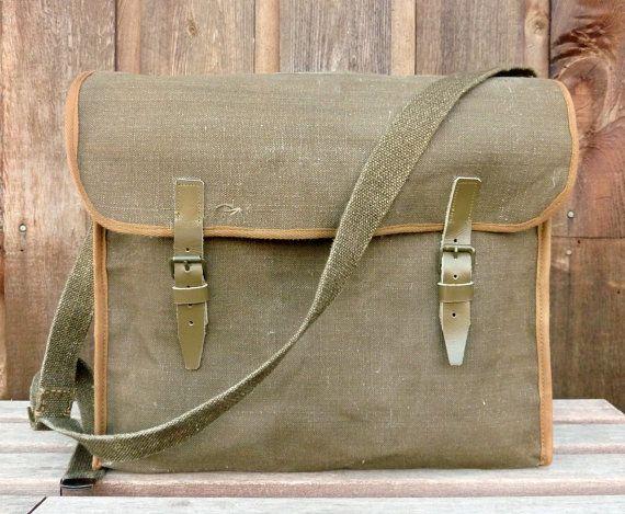 WWII Vintage Linen Military Messenger Bag by clpstudio on Etsy, $63.00