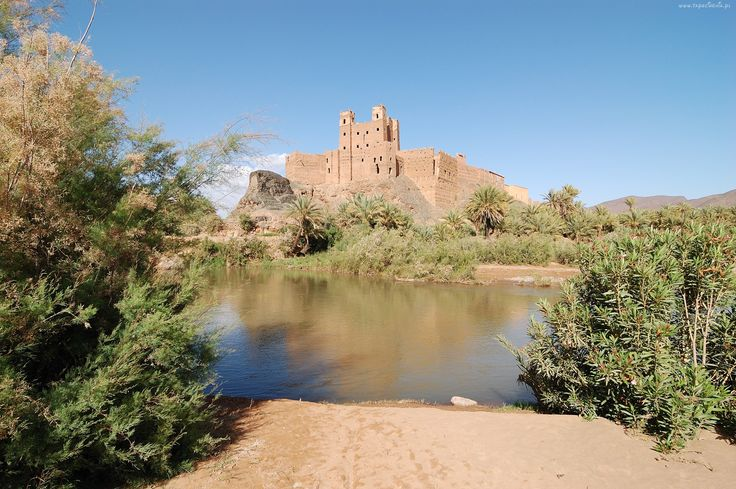 Zamek, Ruiny, Woda, Zieleń, Kasbah, Maroko