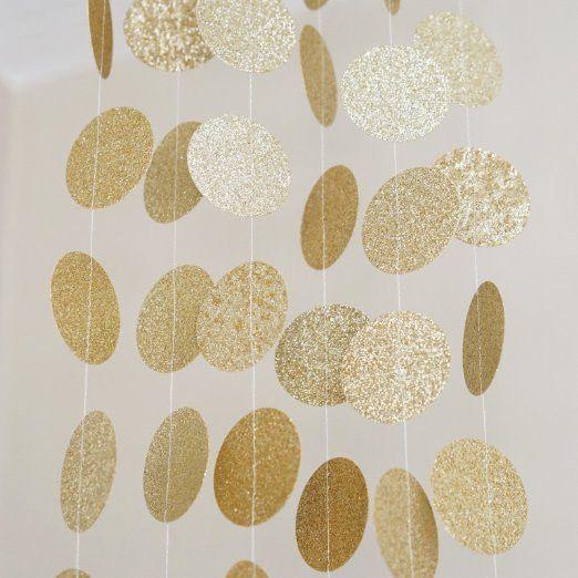 Gold Glitter Circle Polka Dots Paper Garland Banner 10 FT Banner, Celebration Party Decor