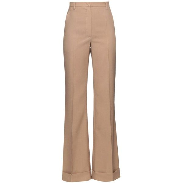 Nina Ricci Wide-leg turn-up wool trousers (68.000 RUB) ❤ liked on Polyvore featuring pants, dark beige, nina ricci, wide leg pants, high rise pants, cuffed pants and flare leg pants
