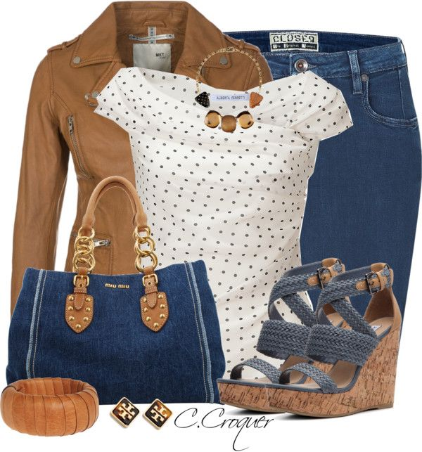 Denim skirt woven wedges spring outfit