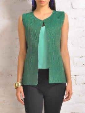Green Kantha Mangalgiri Cotton Sleeveless Jacket