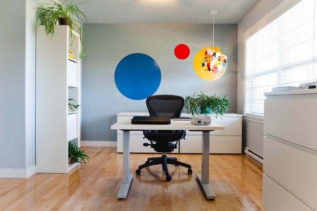 We were so thrilled to help our client reimagine her office space when she moved it to her quiet, suburban home.   #interiordesign #commercial #residential #homeoffice #occupationaltherapy #modern #decals