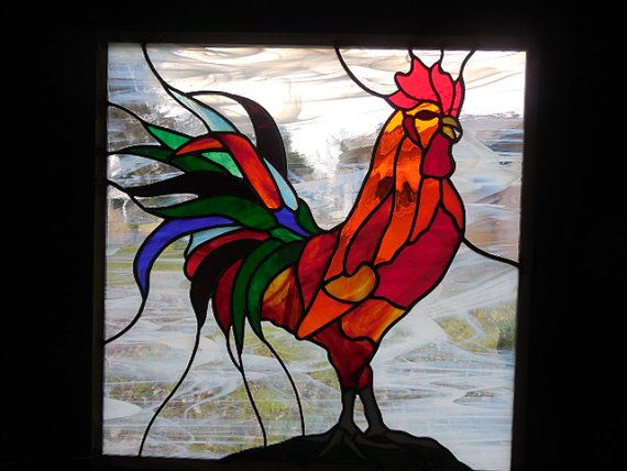 Items similar to Stained Glass Rooster An Explosion of Color. Perfect for a farmhouse, a breakfast nook! Orange and reds, iridescent blue and green, on Etsy