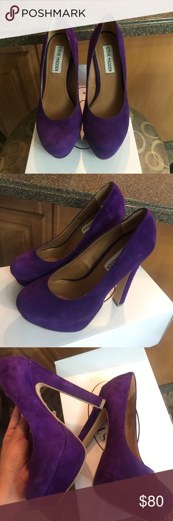 Steve Madden purple platform pumps sale Worn once for a trip. In great condition with little/no signs of wear except for the bottom. Comfortable platform pumps by Steve Madden. Comes with box Steve Madden Shoes Platforms