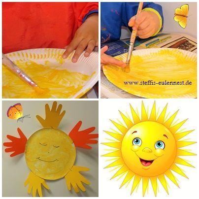 Sonne, Basteln mit Kindern, Sommer, Basteln für Kinder, Handabdrücke, Handabdruck, Pappteller, KITA, Krippe, U3 , Ü3, Malen mit Kindern, Malen, Sun