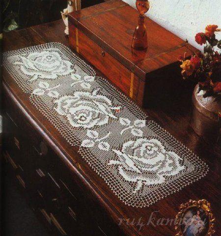 Прямоугольная салфетка с розами, салфетки крючком