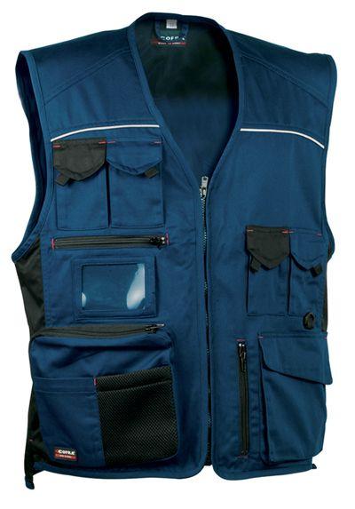 Chaleco atado mediante cremallera central.Con dos bolsillos en el pecho, tres bolsillos en cintura (uno porta tarjetas) y dos ámplios bolsillos en la parte delantera.También un bolsillo trasero. Modelo multibolsillos, con cierres, cremalleras y solapas para adaptarse a cada necesidad del usuario. #MasUniformes #RopaLaboral #UniformesDeTrabajo #VestuarioOnline #Chalecos #Cofra