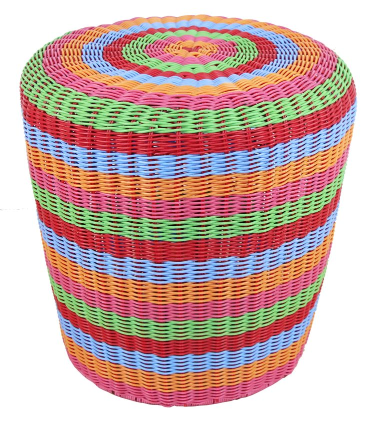 NEW IN: Handwoven RAINBOW striped rattan stools - waterproof! From $160RRP AUD.  http://www.philbee.com.au/outdoor-indoor-waterproof-hand-woven-rattan-rainbow-ottoman.html