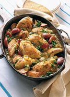 Chicken with Fresh Peas and Sparkling Wine  Note: this dish contains alcohol.  #myplate #vegetables #protein