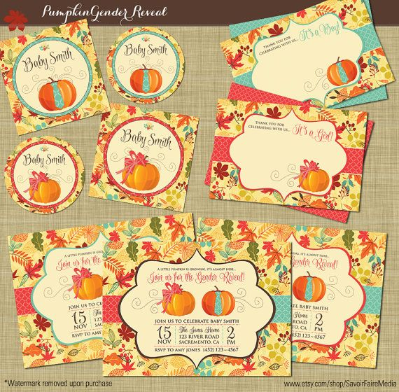 Fall Gender Reveal Invitation Bundle // Pumpkin Patch Autumn Theme Party Printables // Boy or Girl Theme // Leaves Fall Autum Theme  by SavoirFaireMedia
