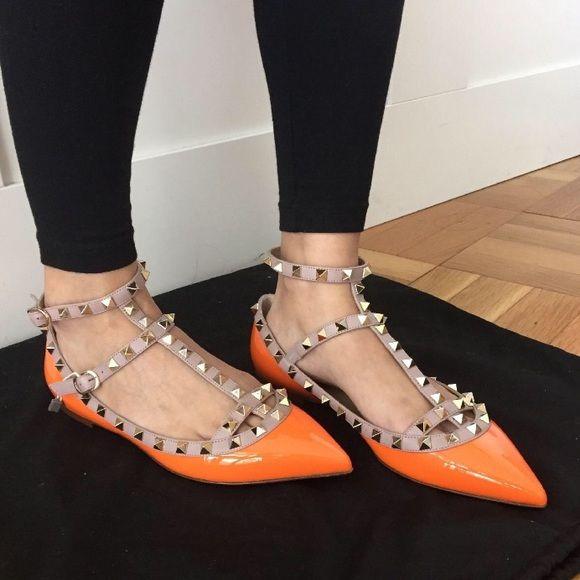 Valentino rockstud Orange flats patent neon studs . Valentino Shoes Flats & Loafers