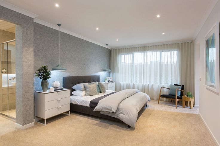 Master bedroom in the Vermont display with a Cottesloe World of Style.