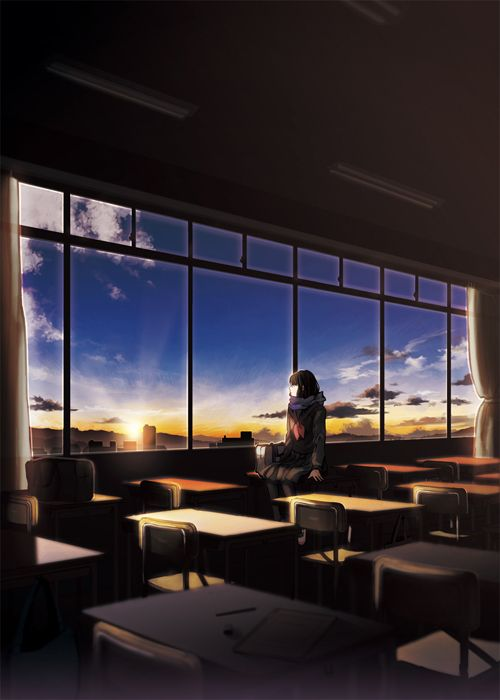 afternoon, alone, anime, classroom, clouds, girl, lonely, looking, manga, scarf, sky, sunset, uniform