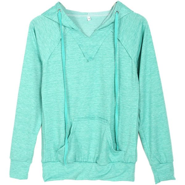 Choies Mint Green Pocket Front Drawstring Hoodie (€20) ❤ liked on Polyvore featuring tops, hoodies, green, mint green hoodie, mint green hooded sweatshirt, green top, blue hoodies i green hoodie