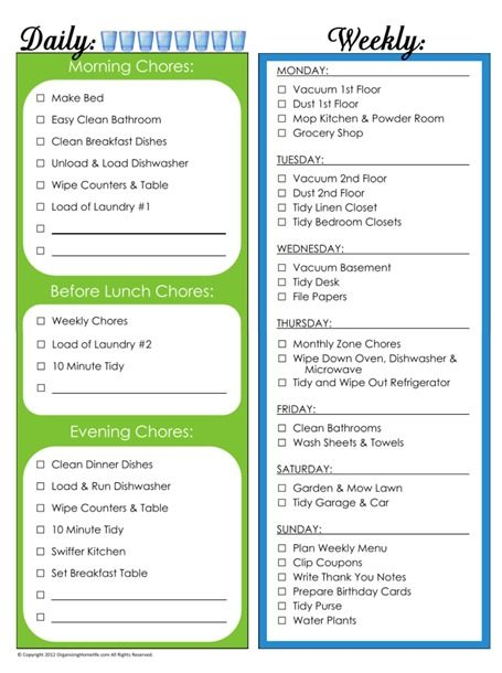 31 Days of Home Management Binder Printables: Day #4 Daily and Weekly Chore Schedule   Organizing Homelife